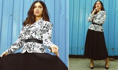 Bhumi Pednekar Is Sustainable Monochrome Chic, Styles a Vintage 80s Jacket With a Pleated Skirt!