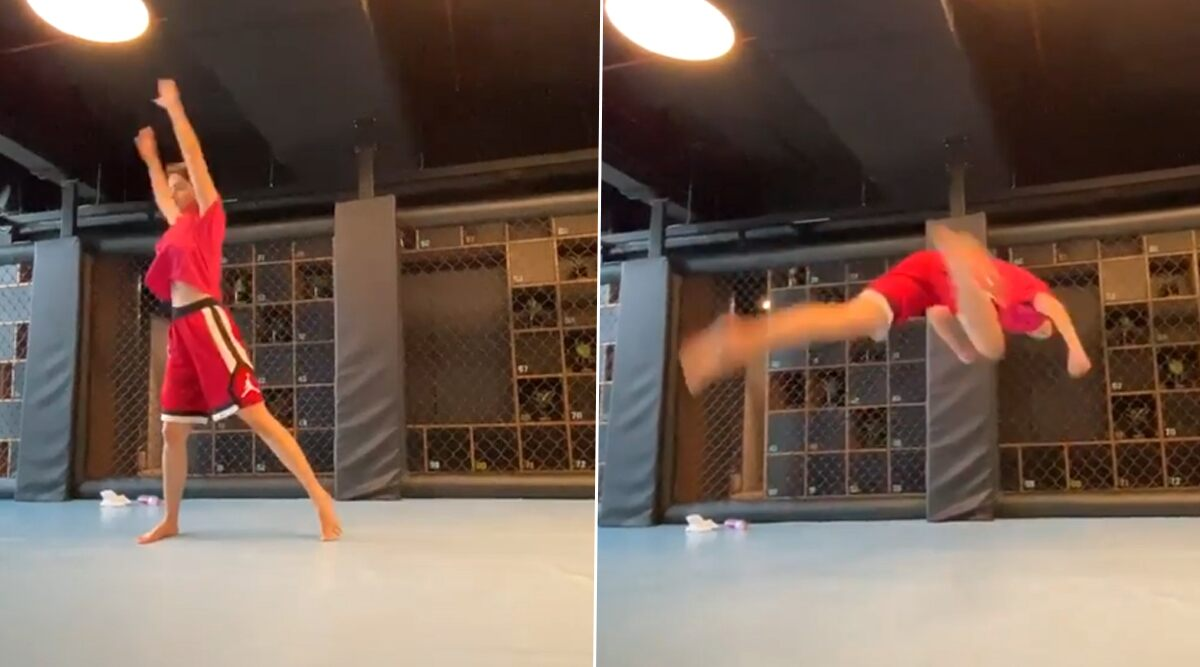 Disha Patani Tries the Acrobatic Butterfly Kick, Leaves Tiger Shroff Impressed (Watch Video)