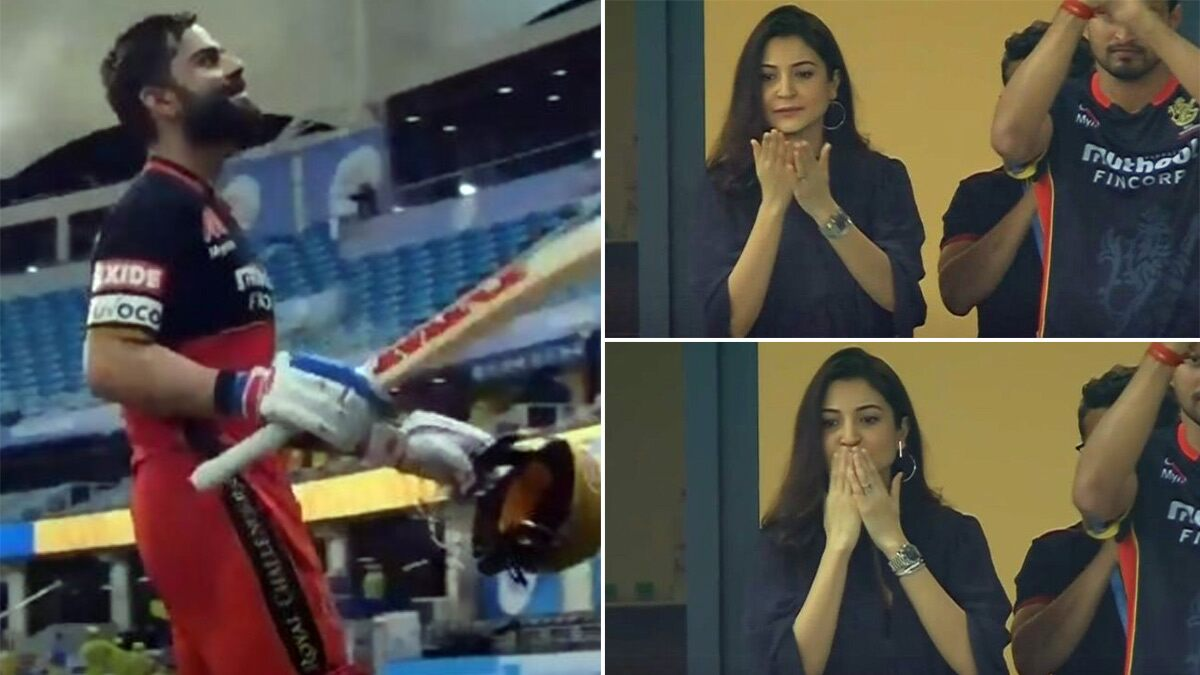 IPL 2020: Mom-to-Be Anushka Sharma Cheering for Virat Kohli During the RCB vs CSK Match Is the Best Thing You'll See on the Internet Today! (View Pics)