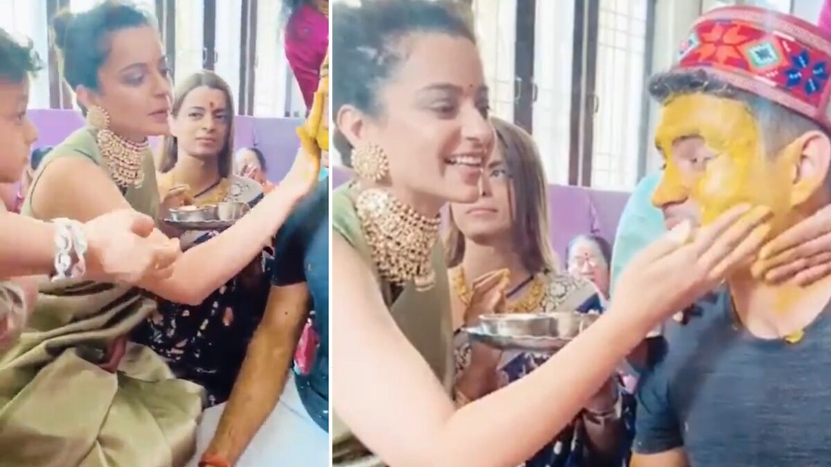 Kangana Ranaut Rubs Haldi on Brother Aksht's Face; Shares 'Badhai' Ceremony's Video Ahead of His Wedding in November – WATCH