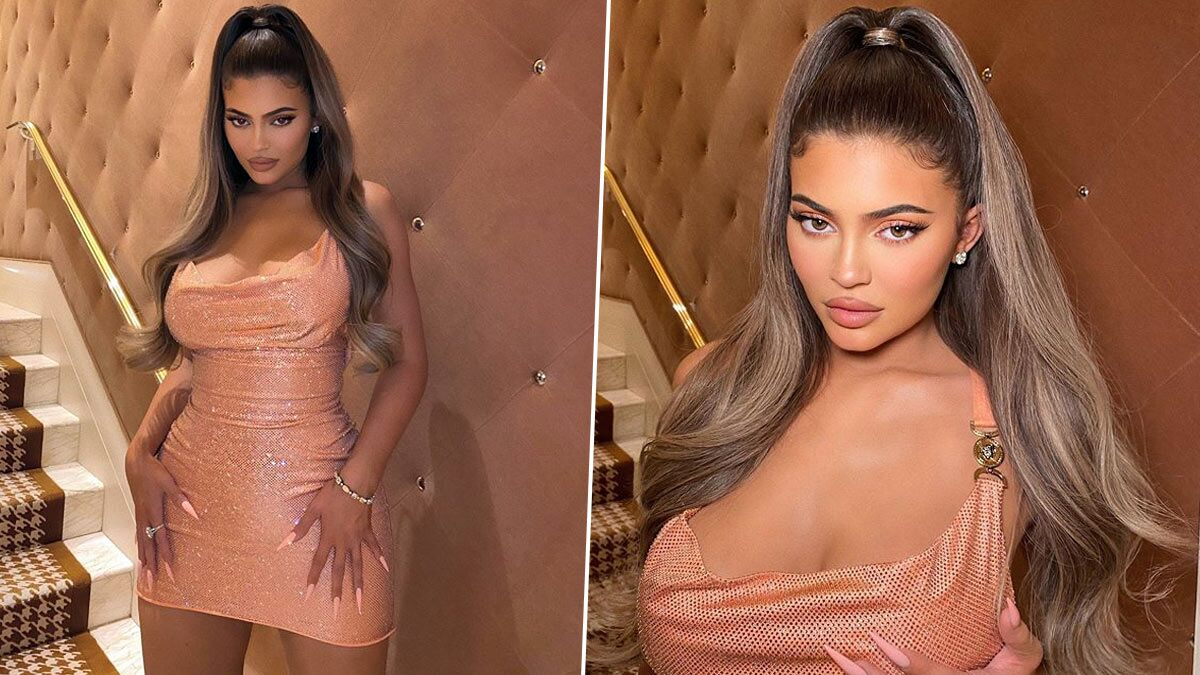 Kylie Jenner's a Hot Mess in her Peach Sequined Outfit (View Pics)