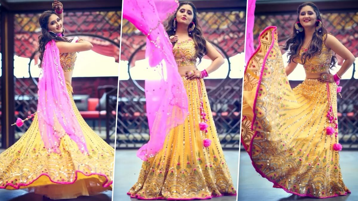 Navratri 2020 Day 6 Colour Yellow: Rashami Desai Shimmers Delightfully in a Vibrant Lehenga-Choli (Watch Video)