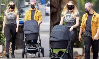 Sophie Turner and Joe Jonas Step Out with Baby Willa for a Stroll and His Pink Hair Has Our Attention (View Pics)