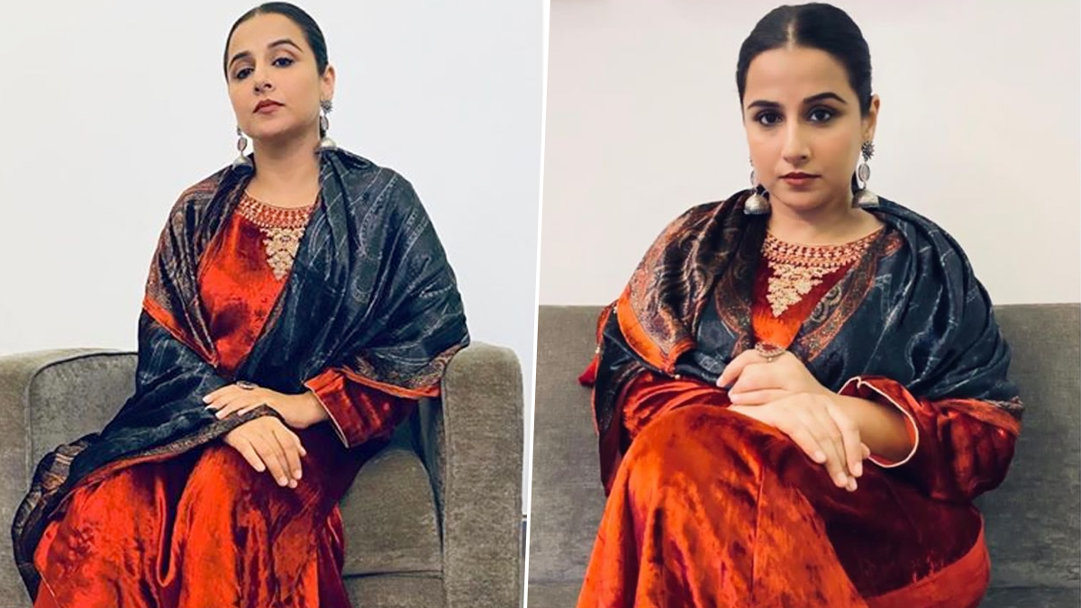 Vidya Balan Decks Up For Durgashtami Celebration and Her Red Velvet Suit is Making us Say 'Khoob Bhaalo' (View Pics)