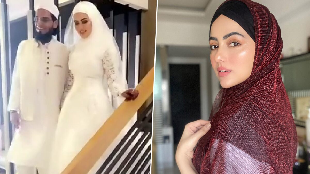 Bigg Boss 6 Fame Sana Khan, After Quitting the Industry, Ties The Knot With Gujarat-Based Mufti Anaas (View Pics and Video)