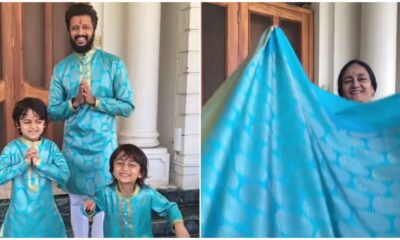 Diwali 2020: Riteish Deshmukh Upcycles Mother's Old Saree into Kurta for Kids and It Looks So Fashionable (Watch Video)