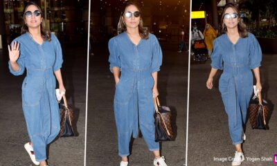 Hina Khan's Airport Fashion Is All About Pairing Her Denim Jumpsuit With a Louis Vuitton Handbag and Stylish Reflectors (View Pics)