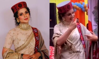 Kangana Ranaut Adds Pahadi Touch to Her Sabyasachi Saree, Grooves to a Folk Song at Brother Aksht's Wedding Reception (Watch Video)