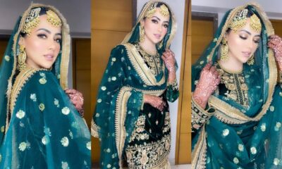 Newlywed Sana Khan Looks Breathtaking in a Bottle Green Sparkly Sharara Set (View Pics)