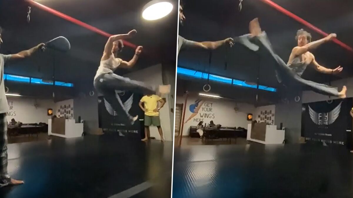 Tiger Shroff Pulls Off His Favourite Flying Kick Move with Such Ease (Watch Video)