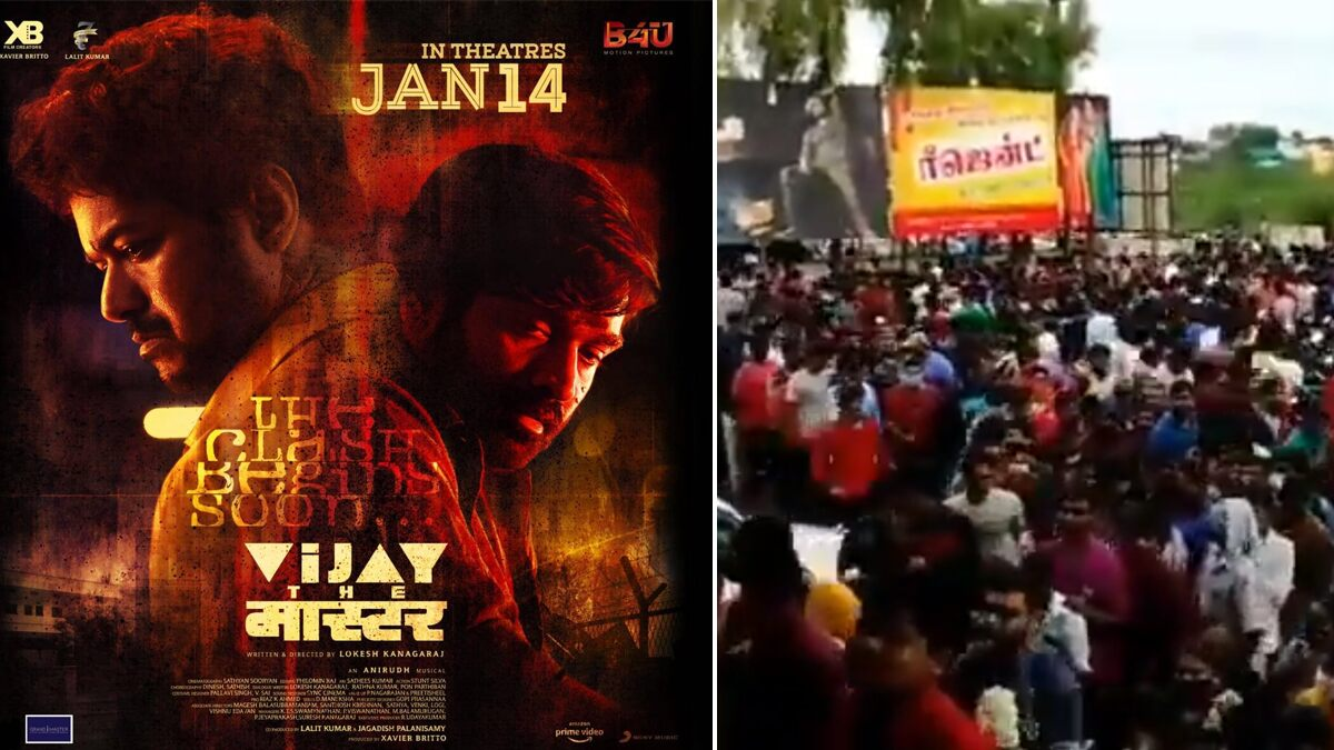 Master: Fans Overcrowd Cinema Halls for Thalapathy Vijay, Vijay Sethupathi Movie Despite COVID-19 Pandemic (Watch Video)