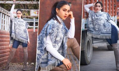 Sara Ali Khan Setting Some Winter Fashion Goals With Her Christian Dior Poncho and Suede Boots